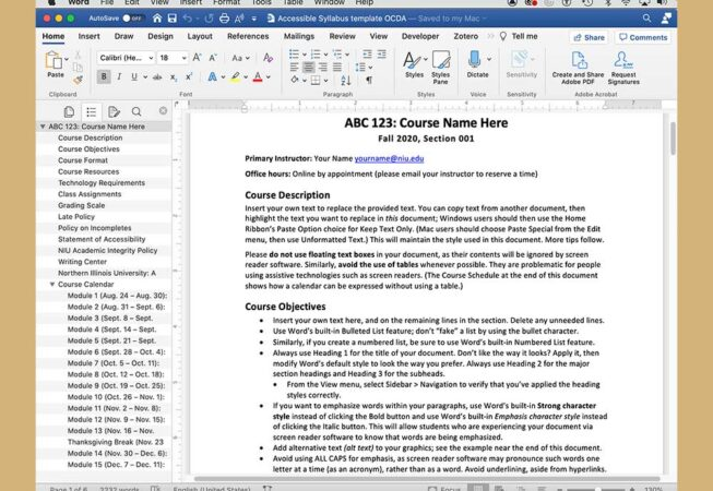 Screen shot of Microsoft Word document, an accessible syllabus
