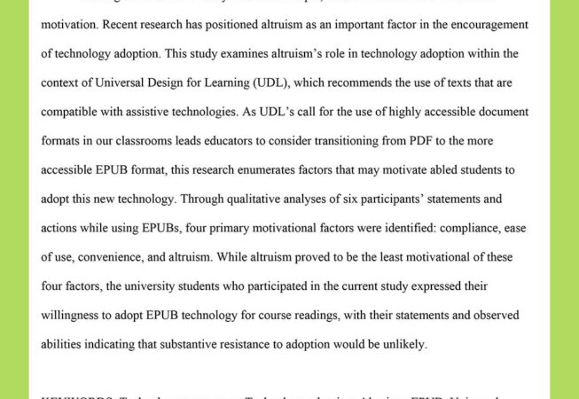 Abstract from my research on altruism's role in technology adoption.